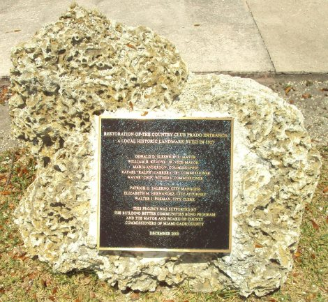 Coral Gables Prado Entrance Plaque